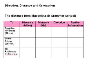 Direction worksheet