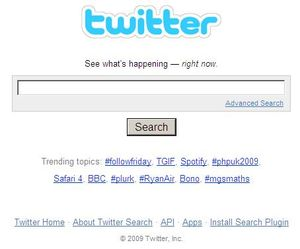 Front page of Twitter Search